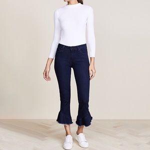 Paige Flora Straight Leg Flare Frayed Hem Jeans 29